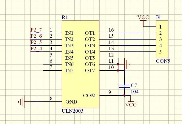 请大神解释下uln2003驱动步进电机的电路像这样接有没