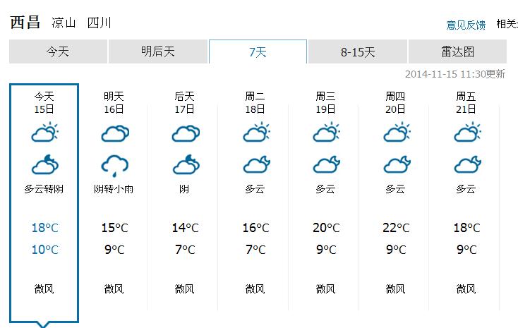 西昌十一月天气怎么样