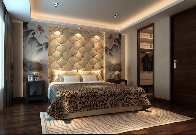 卧室背景墙,这样的壁纸然后圆床配什么样的软包好?图片