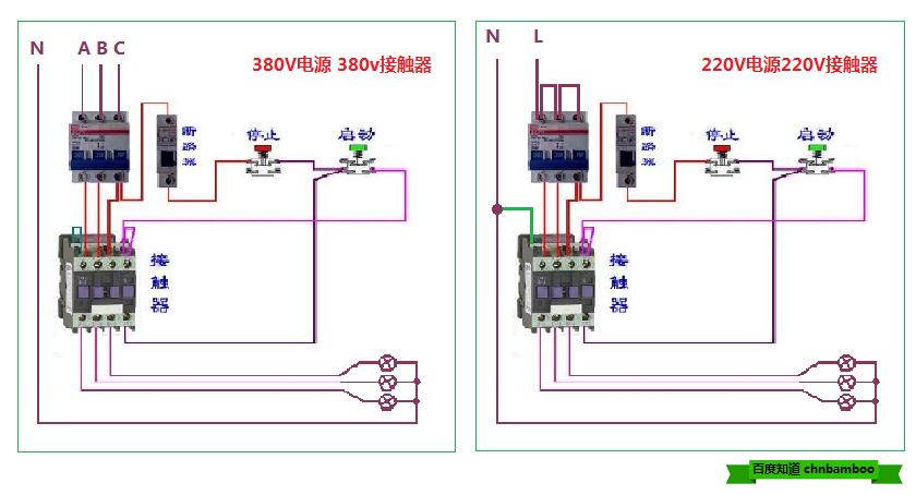 求高手指点:接触器控制三相电机,把电机换成家用220v灯泡怎么接线?
