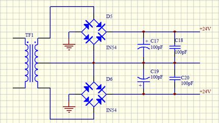 以下电路能否完成把220v交流电转成24v直流电?