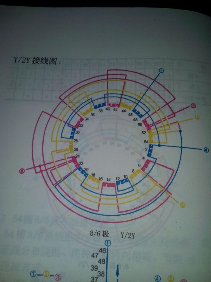 54槽4,6极双速电机接线图