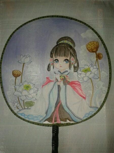 团扇图片手绘简单