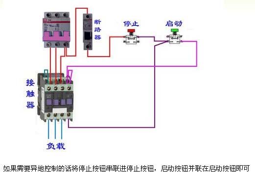 交流接触器怎么接线 求实物图