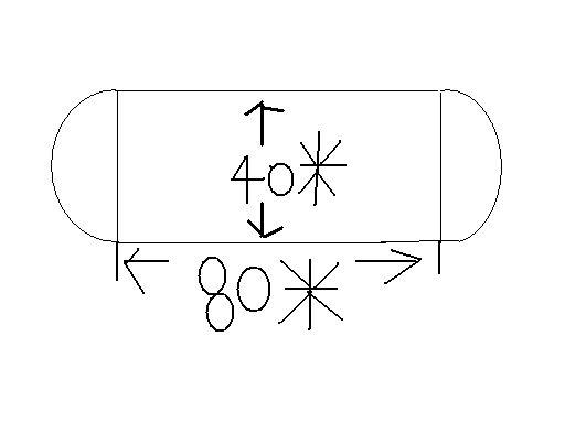 一个运动场跑道的形状大小如图.两边使半圆形,中间长方型.求面积?