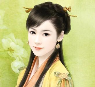 黄衣长发手绘侧面古典美女图片