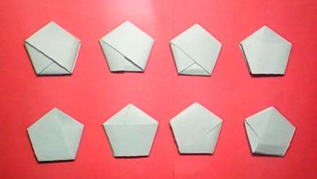 步骤: ①脱氧核糖的制作: 准备一张正方形蓝纸,连续对折三次,并将其剪