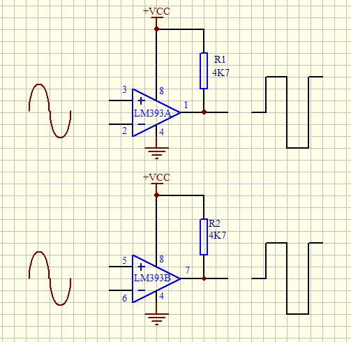 正弦波经过311电压比较器后输出一路方波给74ls74触发器,74触发器做