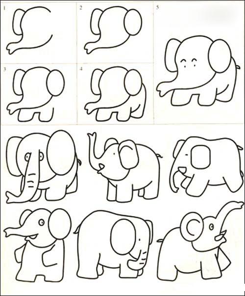最简单又是简笔画的大象怎么画?