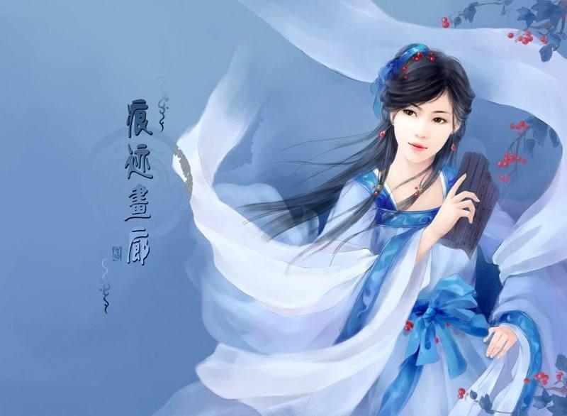 蓝色古装手绘