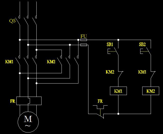 电动机点动正反转的接线图