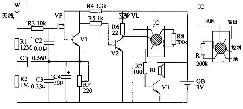 有谁知道语音ic芯片kd8888的电路图?