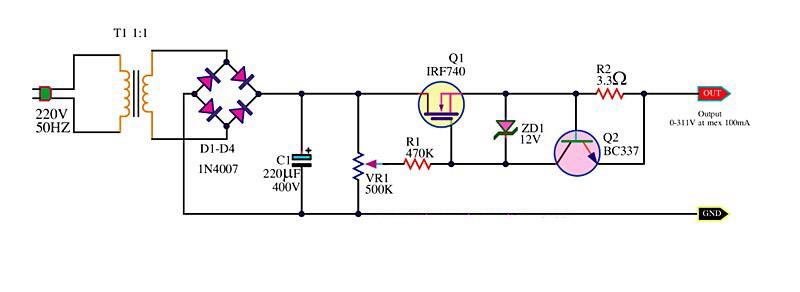 求一个不用变压器的5v直流稳压电源电路图,谢谢