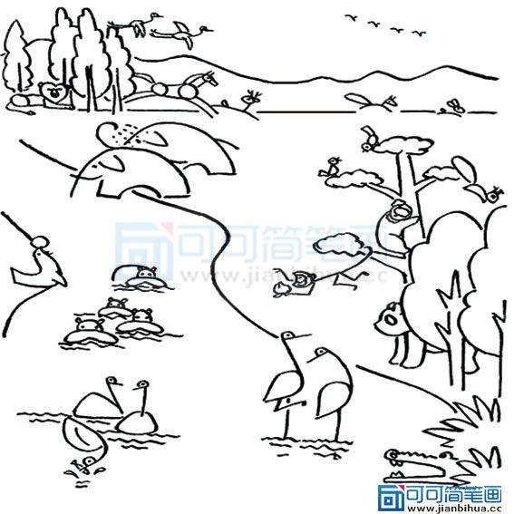 关于动物园简笔画