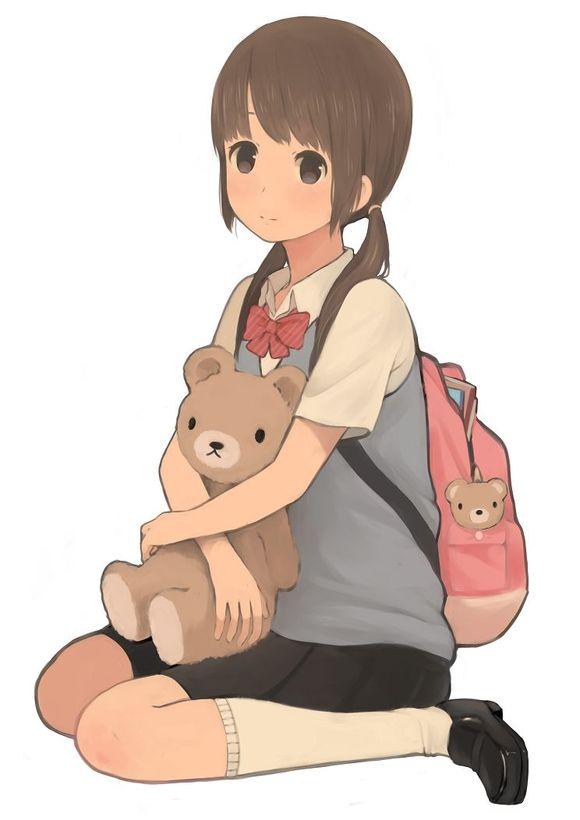 一張卡通動漫圖片 一女孩背著書包 一男孩在背后抓住她頭發 小女孩帶