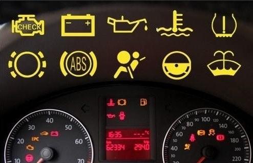 这些是汽车仪表盘指示灯.请问,第一排第三个和第二排都是什么意思?