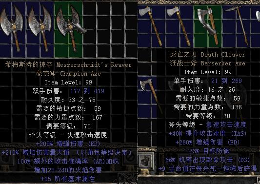 暗黑2装备库中最好的暗金斧头是什么?