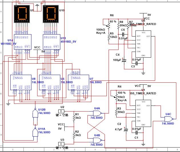 求解答,用multisim做电子秒表,为什么没有数码管没有反应