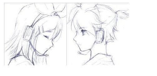 手绘图片情侣铅笔