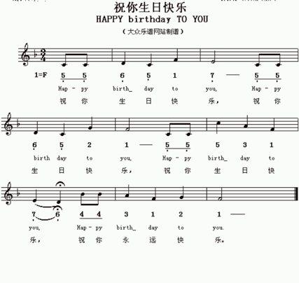生日歌.是祝你生日快乐歌.求谱.