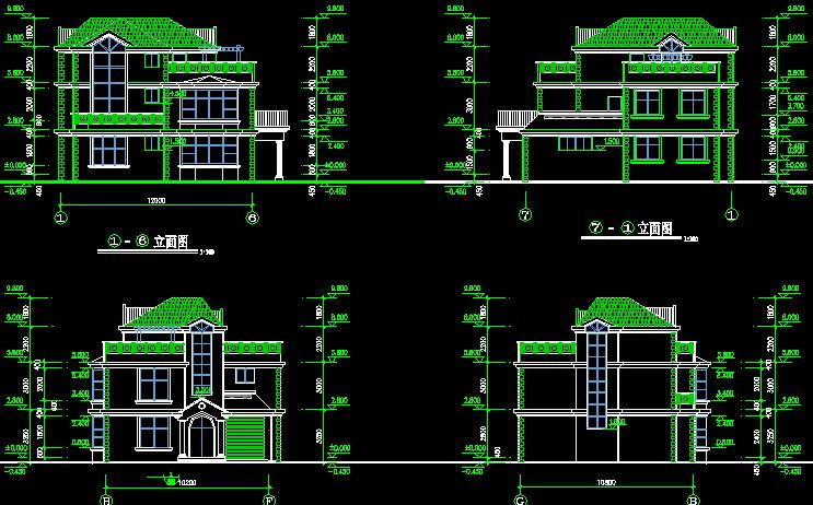 cad制图标准平面图,正立面图,楼梯剖面图