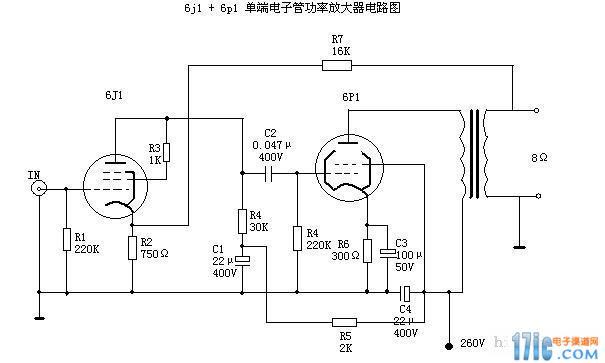 求6p1和6j1电子管功放电路图
