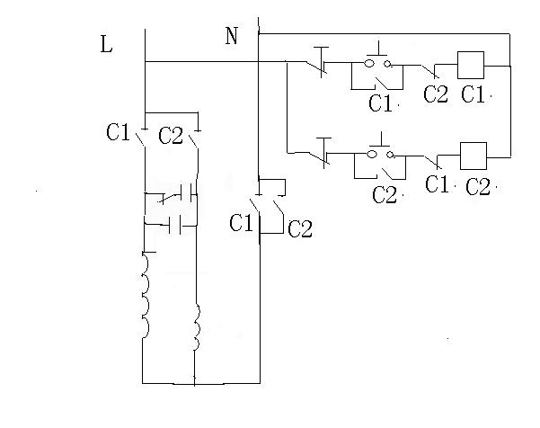 展开全部 单相电机正反转控制电路.2个接触器c1,c2,两个启动按钮.