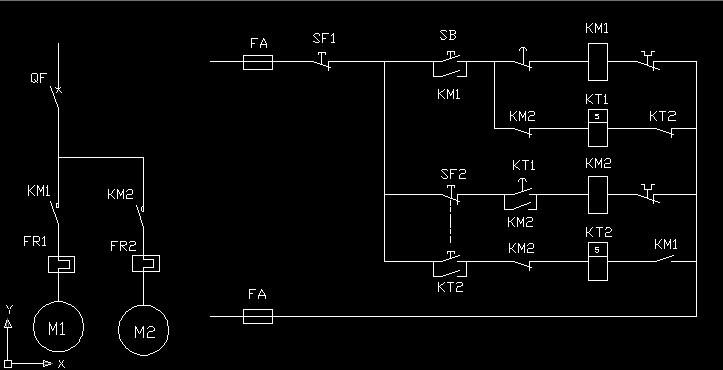 电路图设计,两台电机,顺启逆停