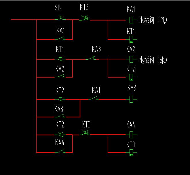 求一个电磁阀控制线路图,用一个按钮开关控制,两个电磁阀.图片