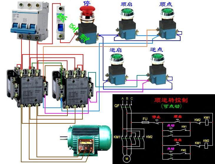 求电动机正反转连续加点动混合控制电路图