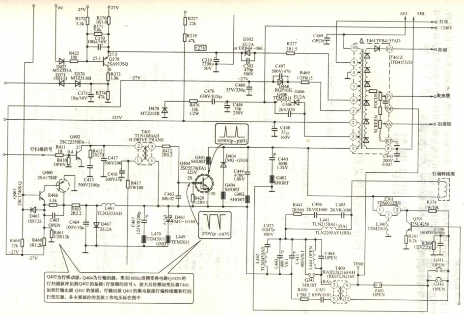 请问crt显像管彩色电视机主电压的走向 ?