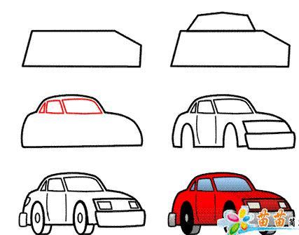 如何教小孩画汽车图片
