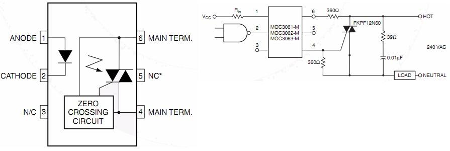 电路设计,双向可控硅触发电路,moc3063,moc3061,moc3041系列.