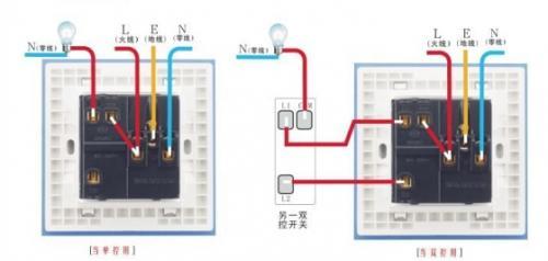 双开双控五孔明装插座开关怎样接线?