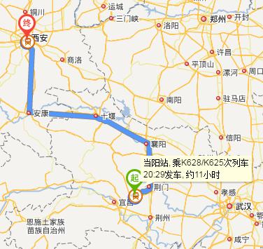 当阳到西安到银川路线图火车