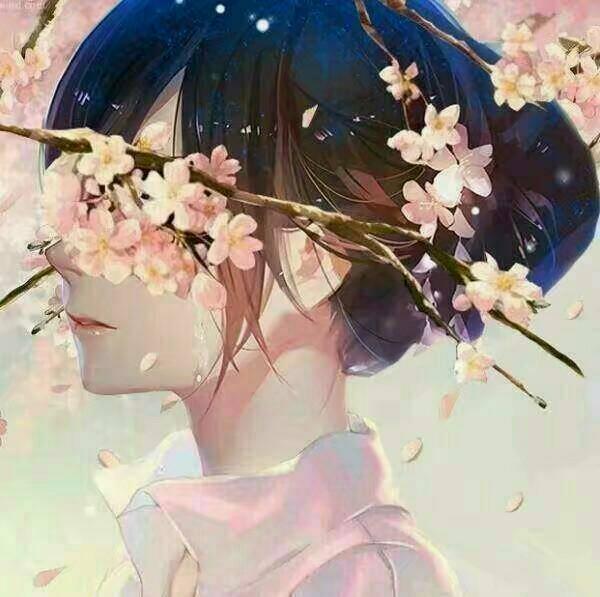 被樱花遮住眼睛的情侣头像的另一半