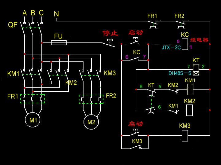 一个停止按钮,一个时间继电器,一个自动正反转控制器,三个接触器,2个