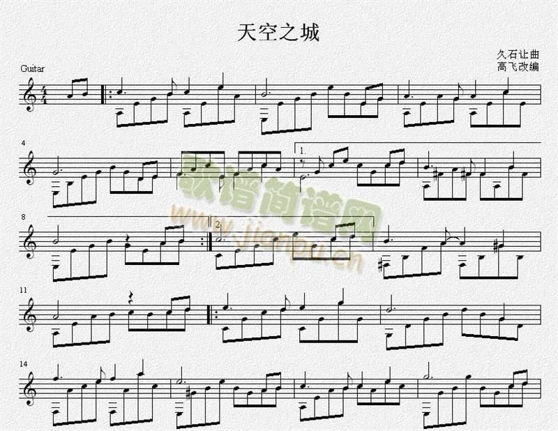 天空之城钢琴键位全部,像a4 g3这样的,谢谢.图片