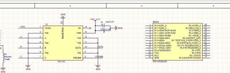 pa1100磁卡解码芯片通过stc15f2k60s2单片机控制,外围电路需要怎么接?