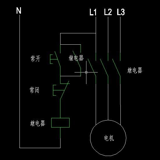 常开常闭开关各一个,继电器一个,电机,怎么连接电路能