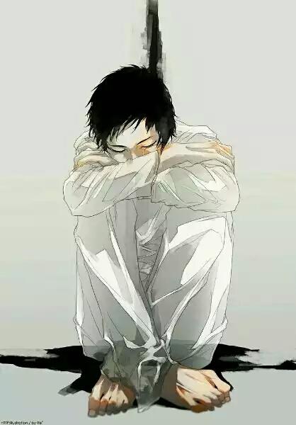 求动漫人物缩在墙角伤心地坐在地上抱双腿把头埋在腿上的图片.