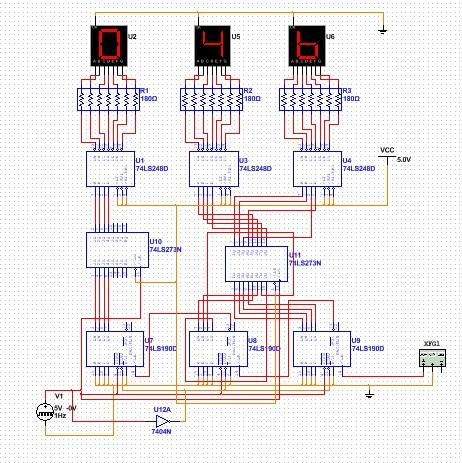 关于数字频率计multisim的仿真文件,测量0~999hz