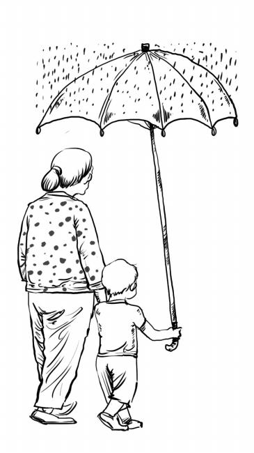 雨天撑伞背影女孩手绘