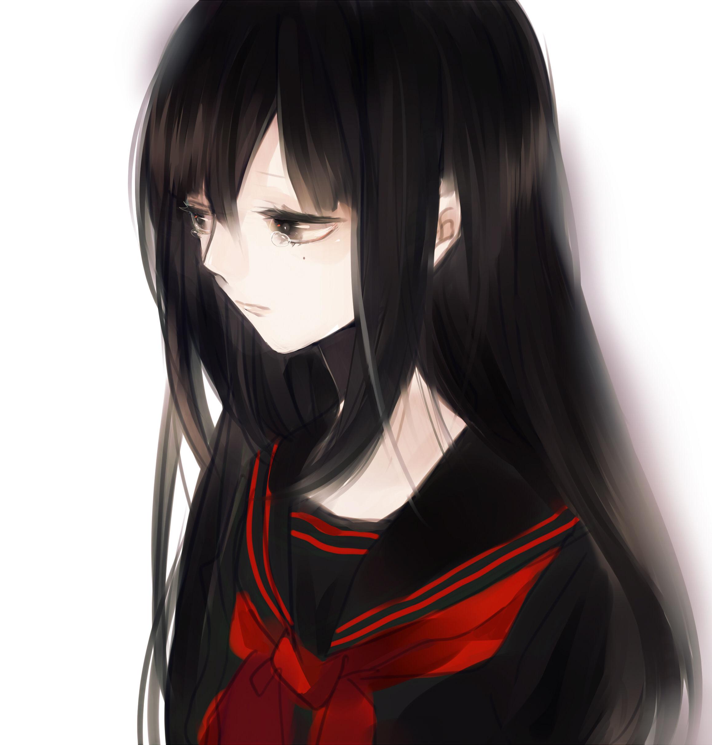 一个动漫 女生 有点血腥的长头发穿校服的叫什么