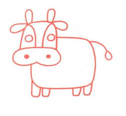 谁能教教我简笔画的牛怎么画啊?越简单越好!不胜感激!