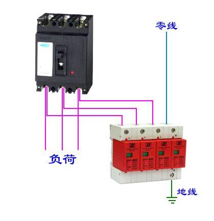 请问哪位有220和380空开接浪涌保护器的实物接线图?