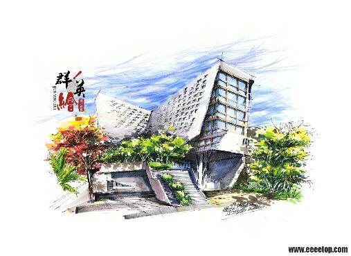 急需几张现代建筑风景色彩画,一定要是现代建筑.