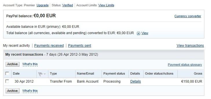 在荷兰转账到国外的paypal,但是钱不见了!