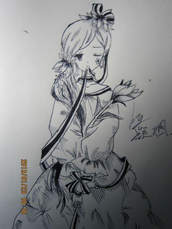 求美腻的黑白的手绘图