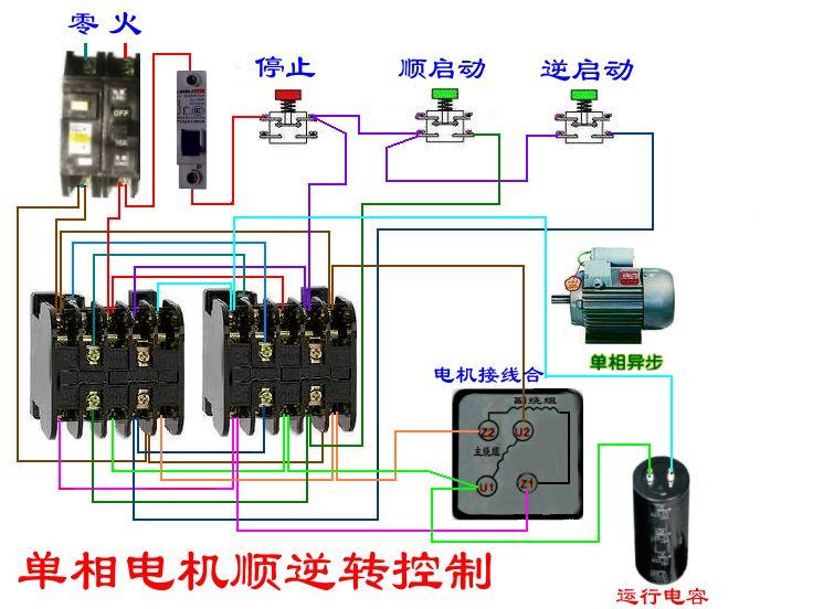 机4个出线接线端的接线图,图中是将副绕组两端通过接触器对调实现顺